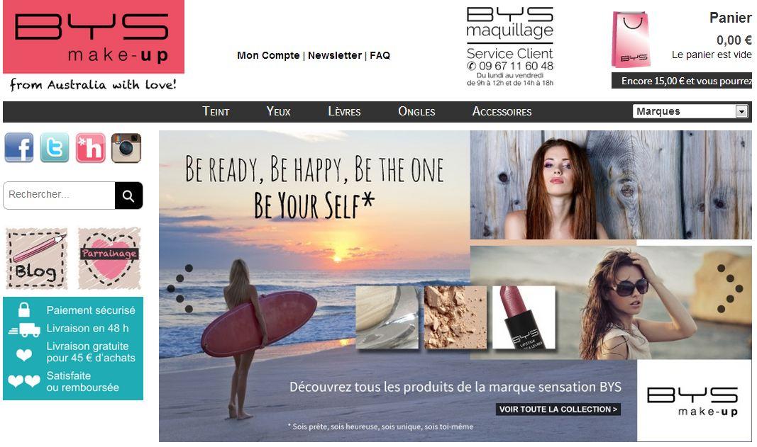 Page d'accueil de la boutique