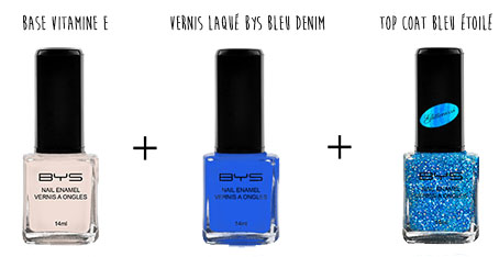 Base vernis top coat bleus BYS Maquillage