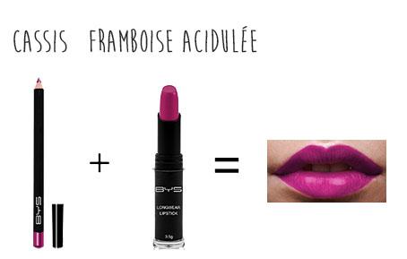 Bouche rose fruitée BYS crayon à lèvres cassis rouge à lèvres longue tenue framboise acidulée