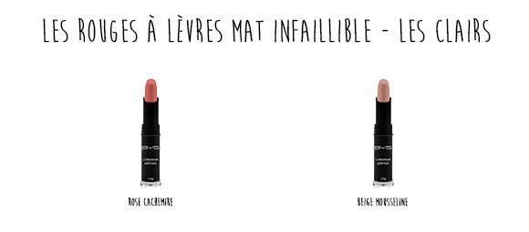 Rouges à lèvres mat infaillible BYS les clairs
