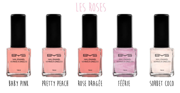 Vernis à ongles pastels BYS Maquillage les rose 2