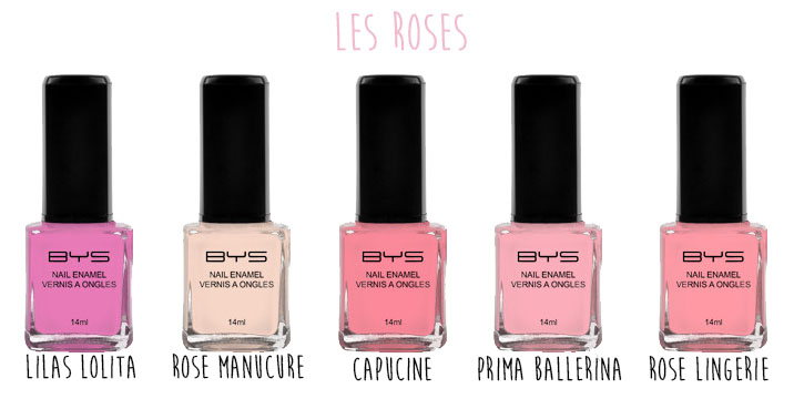 Vernis à ongles pastels BYS Maquillage les rose