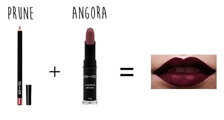 bouche ténébreuse BYS crayon à lèvres prune rouge à lèvres mat infaillible angora