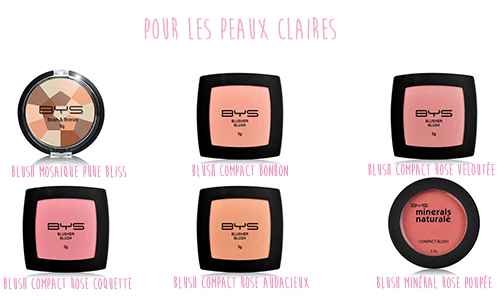Blushs peaux claires BYS Maquillage