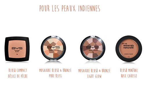Blushs peaux indiennes BYS Maquillage