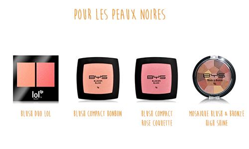 Blushs peaux noires BYS Maquillage