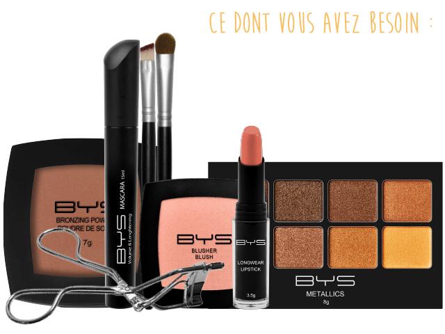 Maquillage doré & bronze fards à paupières BYS Maquillage